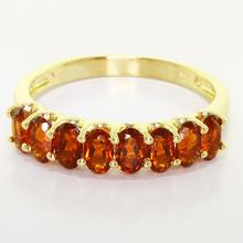 Stunning Ladies 14K Yellow Gold U Prong Half Eternity Garnet Ring Band