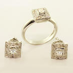 Spectacular Ladies 14k White Gold Diamond Ring Earring Jewelry Set