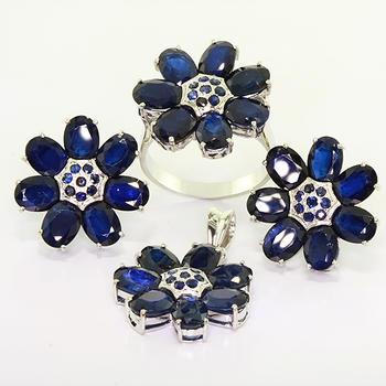 Unique Ladies 14K White Gold Sapphire Seven Leaf Clover Ring Pendant Earring Set