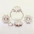 Stunning 14K White Gold Snowflake Diamond Ring Pendant Earrings Jewelry Set