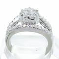 Gorgeous 14K White Gold Round Diamond Flower Split Shank Ring