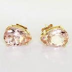 Spectacular 10K Rose Gold Synthetic Rose Gold Quartz Pear Shape Stud Earrings