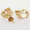 Spectacular 10K Rose Gold Synthetic Rose Gold Quartz Pear Shape Stud Earrings