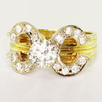 Beautiful Ladies Vintage Estate 14K Yellow Gold Round Diamond Engagement Ring