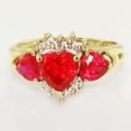 Elegant Ladies Vintage Estate 10K Yellow Gold Three Heart Ruby Heirlom Ring