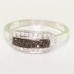 Dazzling Ladies 10K White Gold Round Black White Diamond Right Hand Ring