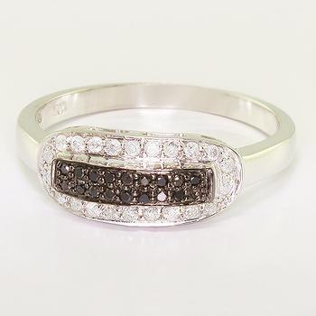 Dazzling Ladies 10K White Gold Round Black White Diamond Right Hand Ring