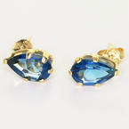 Stunning Ladies 14K Yellow Gold Blue Topaz Pear Shape Stud Earrings