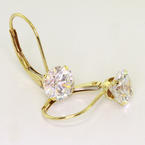 Classic 14K Yellow Gold Round Brilliant Cut Diamond Stud Earrings Level Backs