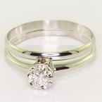 Dazzling Ladies 14k White Gold Diamond Engagement  Ring Wedding Band Set