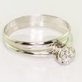 Dazzling Ladies 14k White Gold Diamond Engagement  Ring Wedding Band Set