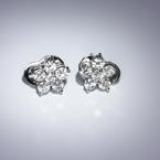 Speactacular Ladies 14K White Gold Round Diamond Flower Stud Earrings
