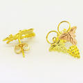 Dazzling Ladies 14K Yellow Rose Gold Grapevine Stud Earrings