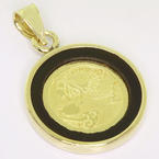 Dazzling Unisex 14K Yellow Gold Black Onyx Aquarius Sign Gold Medalion Pendant