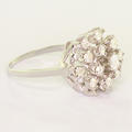 Breathtaking Ladies 14K White Gold Vintage Round Crown Diamond Cluster Ring