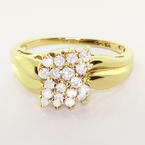 Ravishing 10K Yellow Gold Vintage Estate Ladies Round Diamond Cluster Ring
