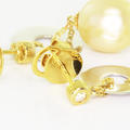 Spectacular Ladies 14K Two Tone Gold Pearl Round Diamond Dangling Earring Set