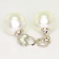 Stunning Ladies Vintage 14K White Gold Pearl Diamond Huggie Dangling Earring Set