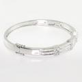 Spectacular 18K White Gold Round Baguette Diamond Ladies Bangle Bracelet