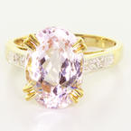 Dazzling Ladies 14K Yellow Gold Pink Quartz Diamond Ring