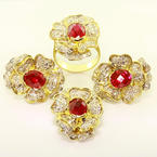 Stunning Ladies 14K Yellow Gold Ruby Diamond Flower Ring Pendant Earrings Set