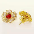 Stunning Ladies 14K Yellow Gold Ruby Diamond Flower Ring Pendant Earrings Set
