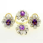Elegant 14K Yellow Gold Amethyst Diamond Flower Ring Earring Pendant Jewelry Set