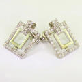 Beautiful Ladies 18K White Gold Cubic Zirconia Double Square Earrings
