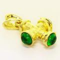 Dazzling Ladies 14K Yellow Gold Green Crystal Cross Pendant
