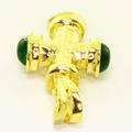 Dazzling Ladies 14K Yellow Gold Green Crystal Cross Pendant