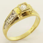 Beautiful Ladies 14K Two Tone Gold Round Diamond Ring