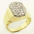 Stunning Vintage Men's 18K Yellow Gold Round Diamond Estate Ring Jewelry
