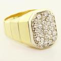 Stunning Vintage Men's 18K Yellow Gold Round Diamond Estate Ring Jewelry