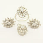 Stunning Ladies 14K White Gold Diamond Cluster Ring Pendant Earring Jewelry Set