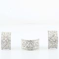 Amazing Ladies 14K White Gold Diamond Earrings Ring Antique Jewelry Set