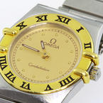 Omega Ladies Constellation 18K Gold Bezel Stainless Steel Vintage Watch