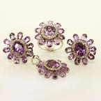 Breathtaking Ladies 14K White Gold Amethyst Diamond Pendant Ring Earring Set