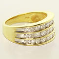 Dazzling Ladies 10K Yellow Gold Round Diamond Three Line Anniversary Band Ring