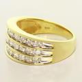 Dazzling Ladies 10K Yellow Gold Round Diamond Three Line Anniversary Band Ring
