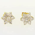 Breathtaking 10K Yellow Gold Ladies Round Diamond Flower Cluster Earring Set