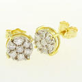 Glamorous Ladies 14K Two Tone Gold Round Diamond Cluster Design Earrings