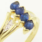 Stunning Ladies 10K Yellow Gold Sapphire Diamond Vintage Estate Ring