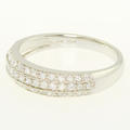 Dazzling Ladies 14K White Gold Round Three Row Diamond Anniversary Wedding Band