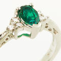 Gorgeous Ladies 14K White Gold Synthetic Emerald Pear Diamond Right Hand Ring