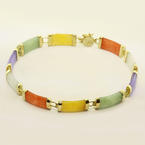 Charming Ladies 14K Yellow Gold Multi Colored Jade Bracelet