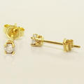 Beautiful Ladies 10K Yellow Gold Round Diamond Stud Earrings