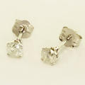 Brilliant Ladies 14K White Gold Round Diamond Stud Earrings