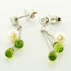 Dazzling Ladies 14K White Gold Pearl Diamond Peridot Dangling Earrings