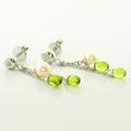 Dazzling Ladies 14K White Gold Pearl Diamond Peridot Dangling Earrings