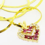 Stunning Ladies 14K Yellow Gold Diamond Tourmaline Heart Pendant Necklace
